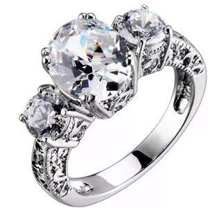 Sterling Silver Cubic Zirconia Three Stone Jewelry